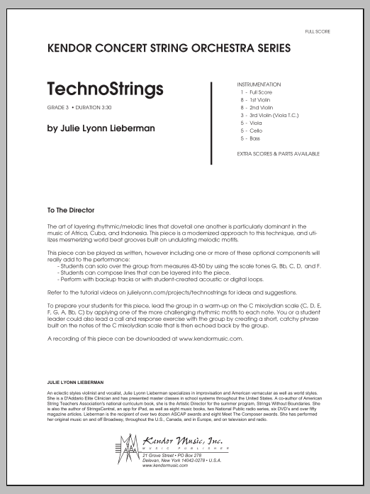 TechnoStrings (COMPLETE) sheet music for orchestra by Julie Lyonn Lieberman. Score Image Preview.
