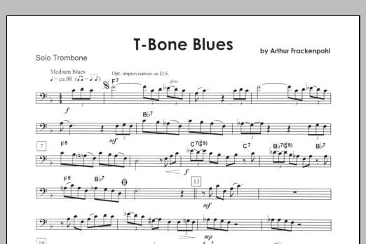 T-bone Blues (complete set of parts) sheet music for trombone and piano by Arthur Frackenpohl. Score Image Preview.