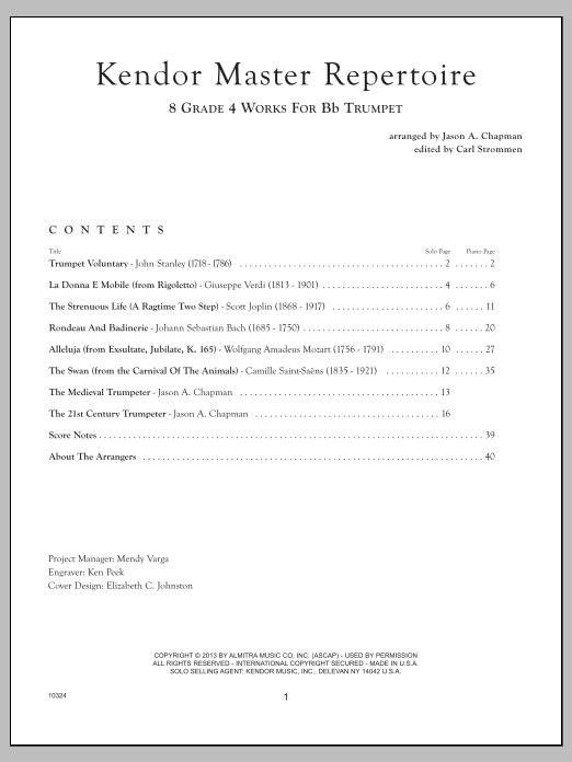 Kendor Master Repertoire - Trumpet - Piano Sheet Music