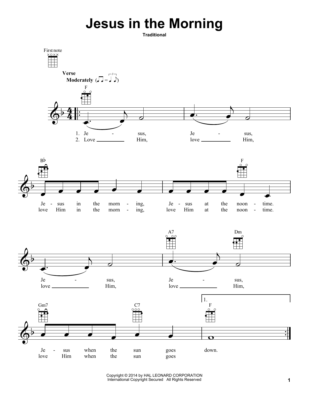 Tablature guitare Jesus In The Morning de Traditional - Ukulele