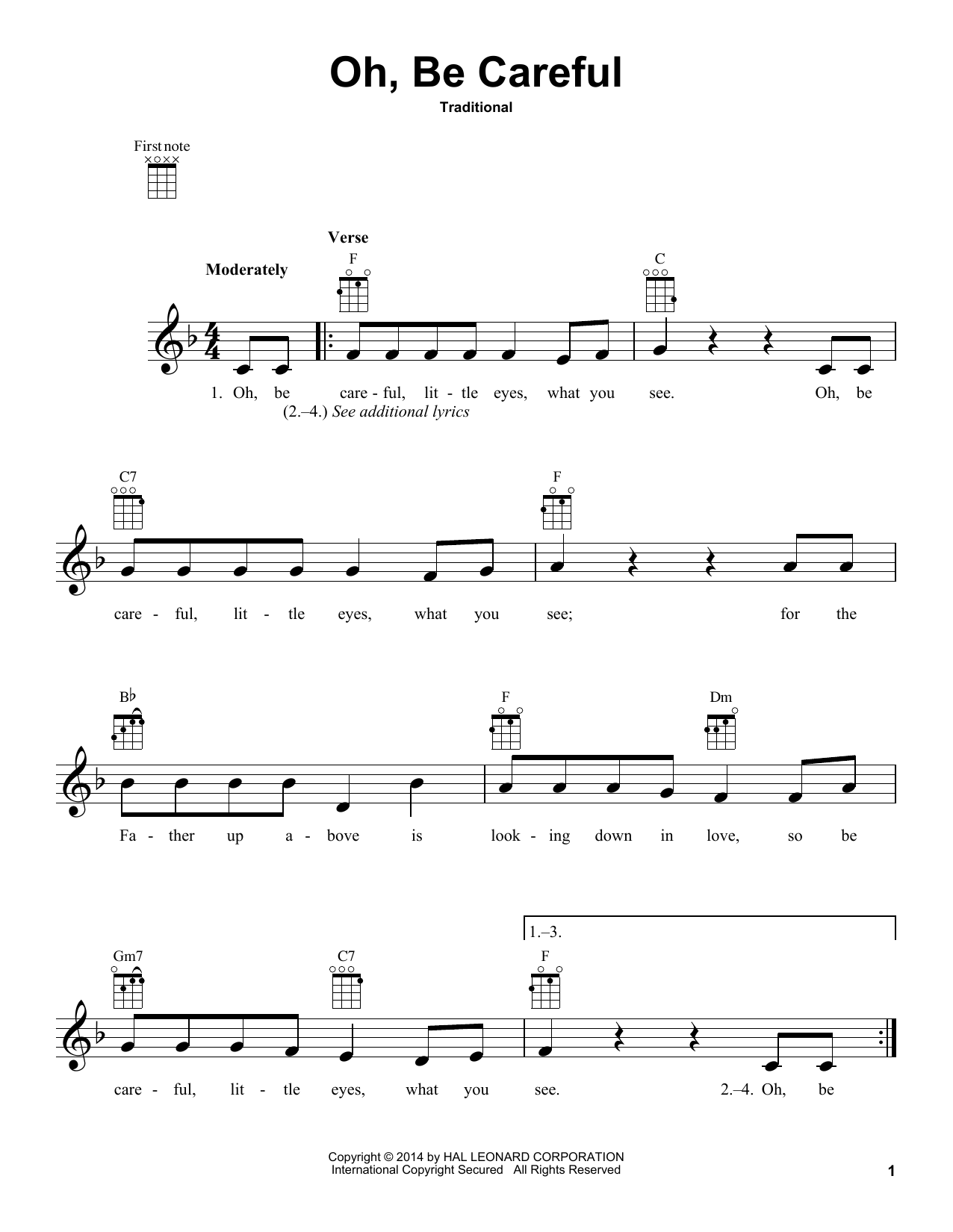 Tablature guitare Oh, Be Careful de Traditional - Ukulele
