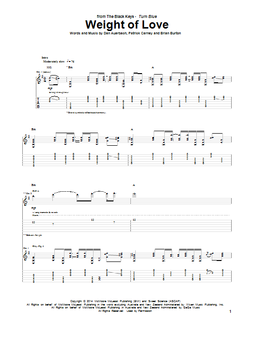 Tablature guitare Weight Of Love de The Black Keys - Tablature Guitare
