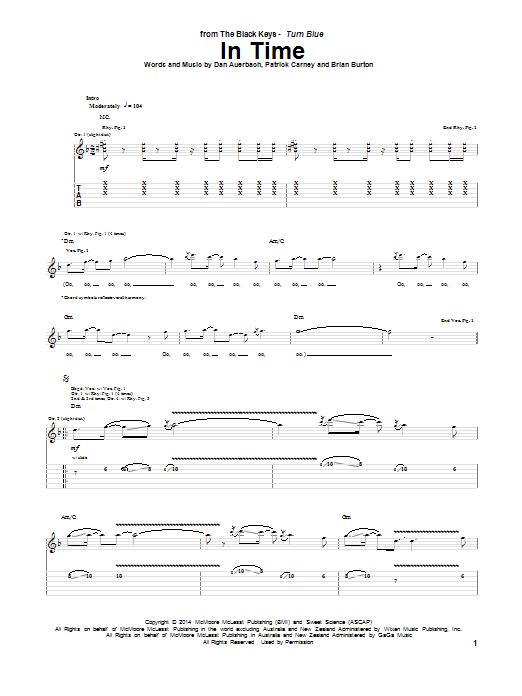 Tablature guitare In Time de The Black Keys - Tablature Guitare