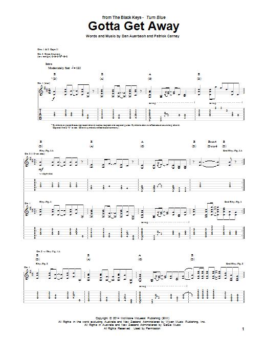 Tablature guitare Gotta Get Away de The Black Keys - Tablature Guitare
