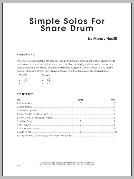 Simple Solos For Snare Drum Sheet Music
