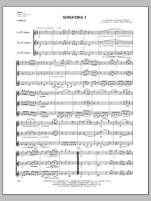 Sonatina I (COMPLETE) sheet music for clarinet trio by James