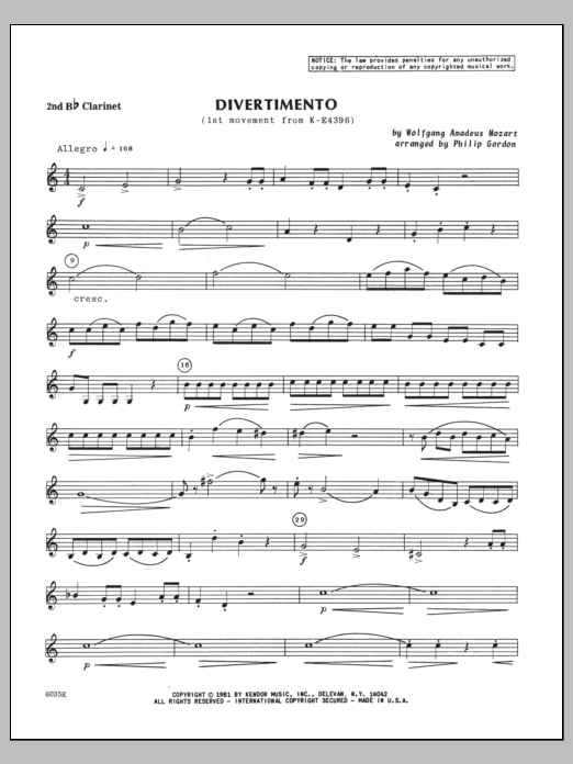 Divertimento (first movement from K439B) - 2nd Bb Clarinet Sheet Music