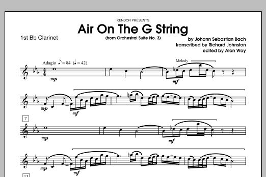 Air On The G String (from Orchestral Suite No. 3) - 1st Bb Clarinet Sheet Music