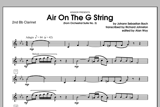 Air On The G String (from Orchestral Suite No. 3) - 2nd Bb Clarinet Sheet Music