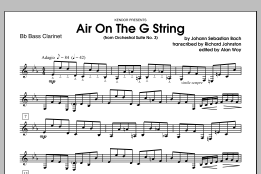 Air On The G String (from Orchestral Suite No. 3) - Bb Bass Clarinet Sheet Music