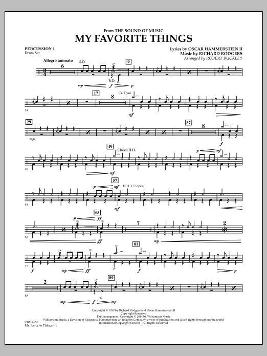 My Favorite Things (from The Sound of Music) - Percussion 1 (Flex-Band)