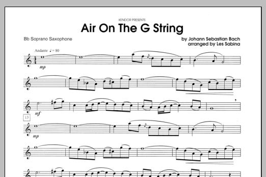 Air On The G String - Bb Soprano Sax Sheet Music