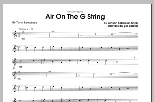 Air On The G String - Bb Tenor Sax Sheet Music