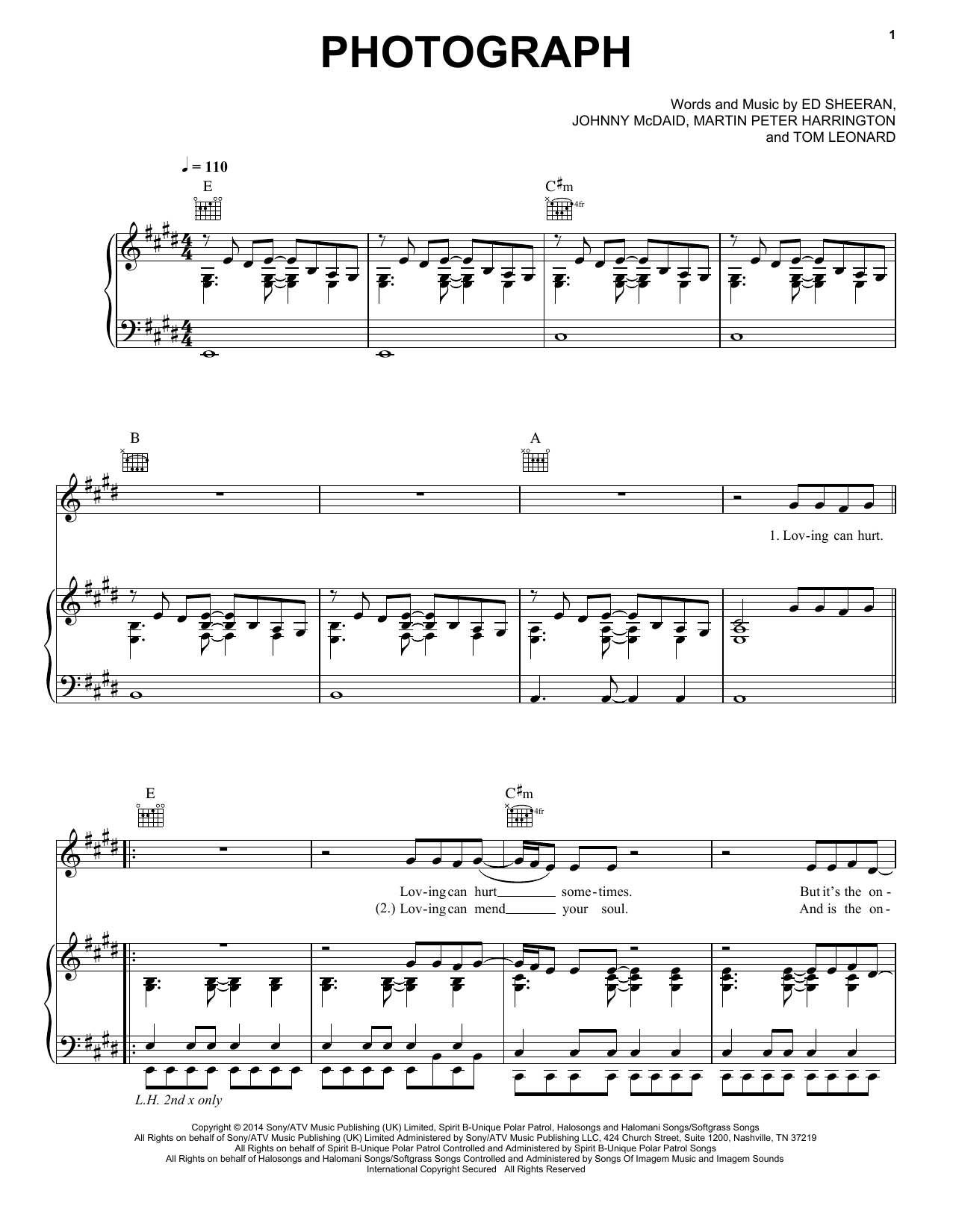 Photograph Piano Vocal Guitar Right Hand Melody Sheet Music