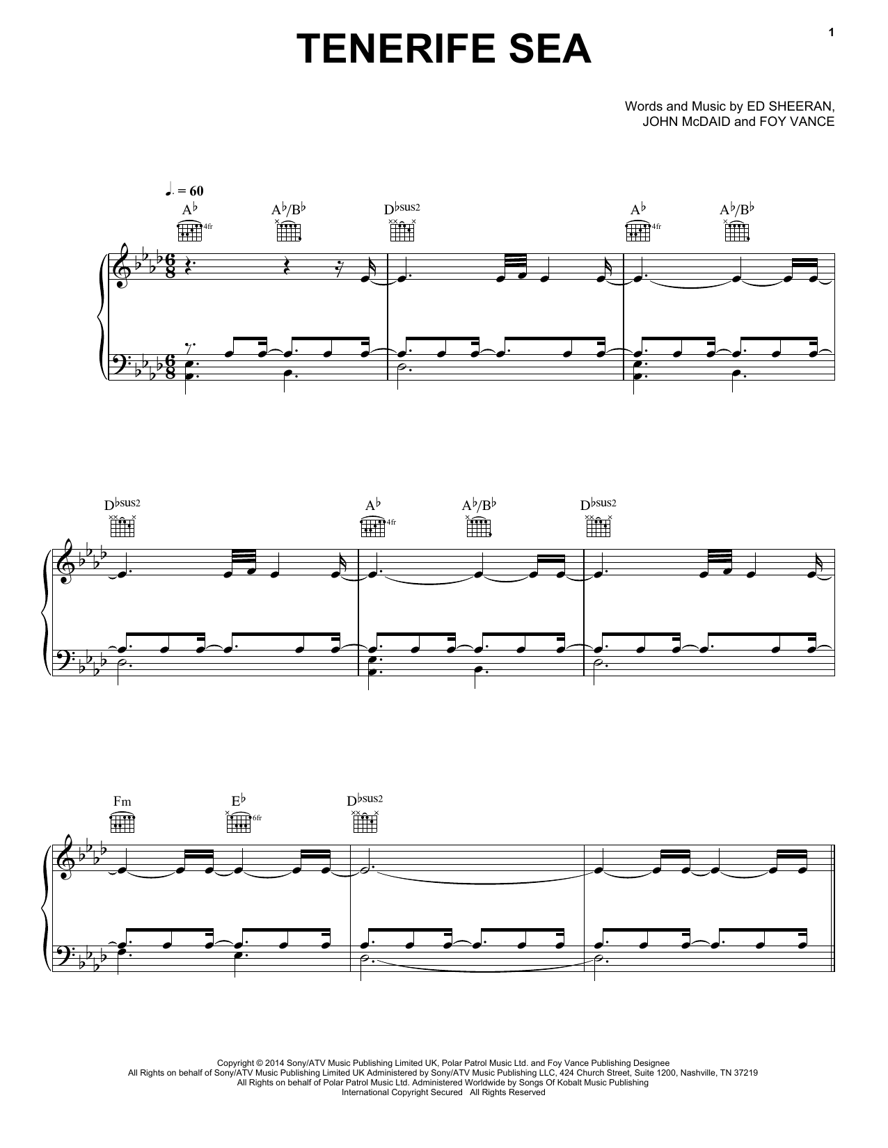 Tenerife Sea Sheet Music
