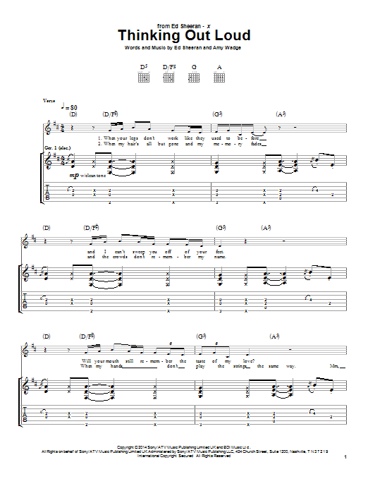Tablature guitare Thinking Out Loud de Ed Sheeran - Tablature Guitare