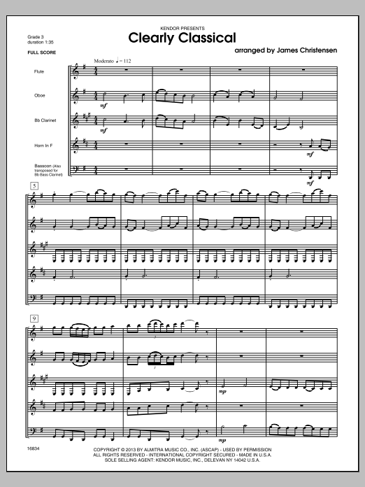 Clearly Classical (COMPLETE) sheet music for wind quintet by James Christensen. Score Image Preview.