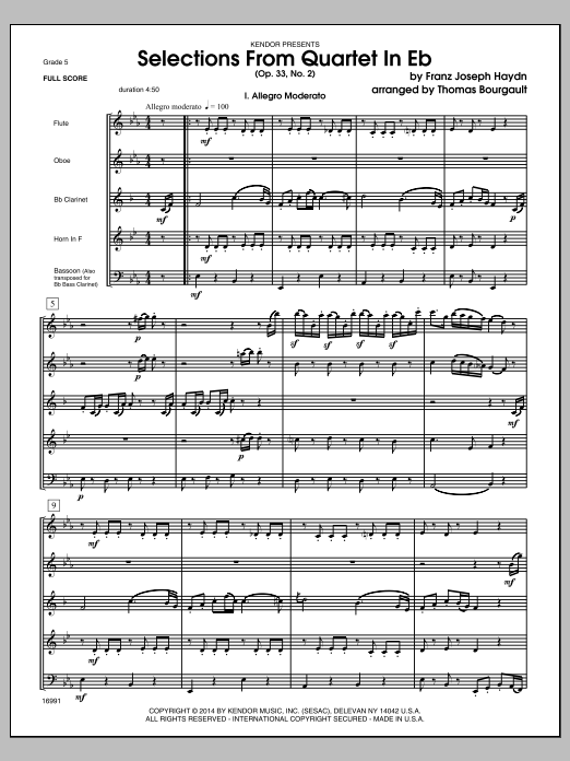 Selections From Quartet In Eb (Op. 33, No. 2) (COMPLETE) sheet music for wind quintet by Thomas Bourgault and Franz Joseph Haydn. Score Image Preview.
