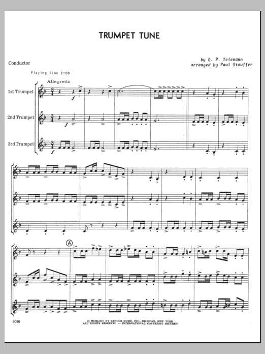 Trumpet Tune (COMPLETE) sheet music for three trumpets by Georg Philipp Telemann and Paul M. Stouffer. Score Image Preview.