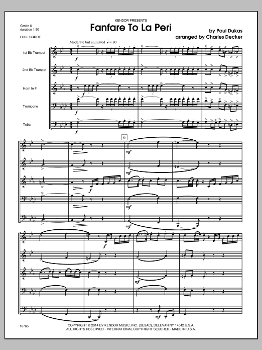 Fanfare To La Peri (COMPLETE) sheet music for brass quintet by Charles Decker. Score Image Preview.