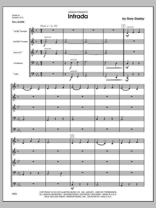 Intrada (COMPLETE) sheet music for brass quintet by Gary Gazlay. Score Image Preview.