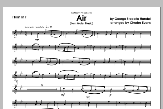 Air (from Water Music) - Horn in F Sheet Music