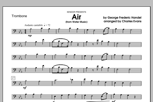 Air (from Water Music) - Trombone Sheet Music