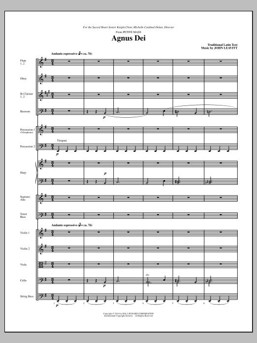 Agnus Dei (COMPLETE) sheet music for orchestra/band (chamber ensemble) by John Leavitt. Score Image Preview.
