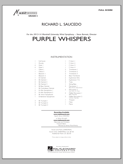 Purple Whispers (COMPLETE) sheet music for concert band by Richard L. Saucedo. Score Image Preview.
