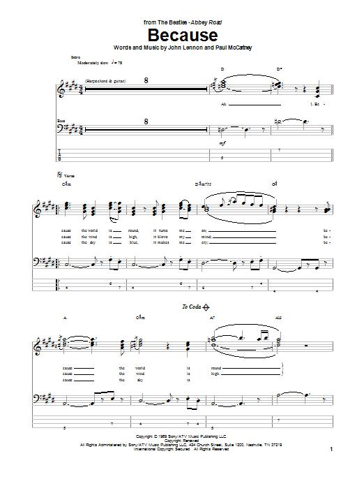 Tablature guitare Because de The Beatles - Tablature Basse
