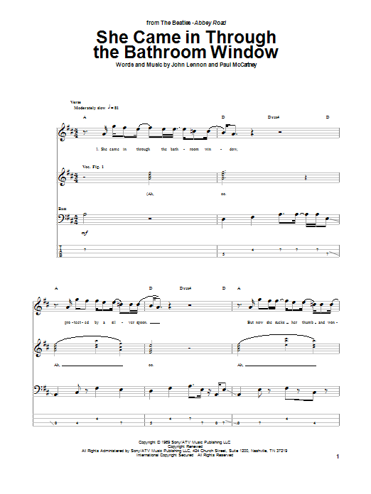 Tablature guitare She Came In Through The Bathroom Window de The Beatles - Tablature Basse