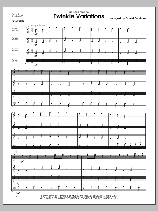 Twinkle Variations - Conductor Score (Full Score) Sheet Music