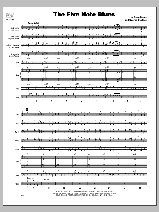 The Five Note Blues (COMPLETE) sheet music for jazz band by Doug Beach & George Shutack. Score Image Preview.