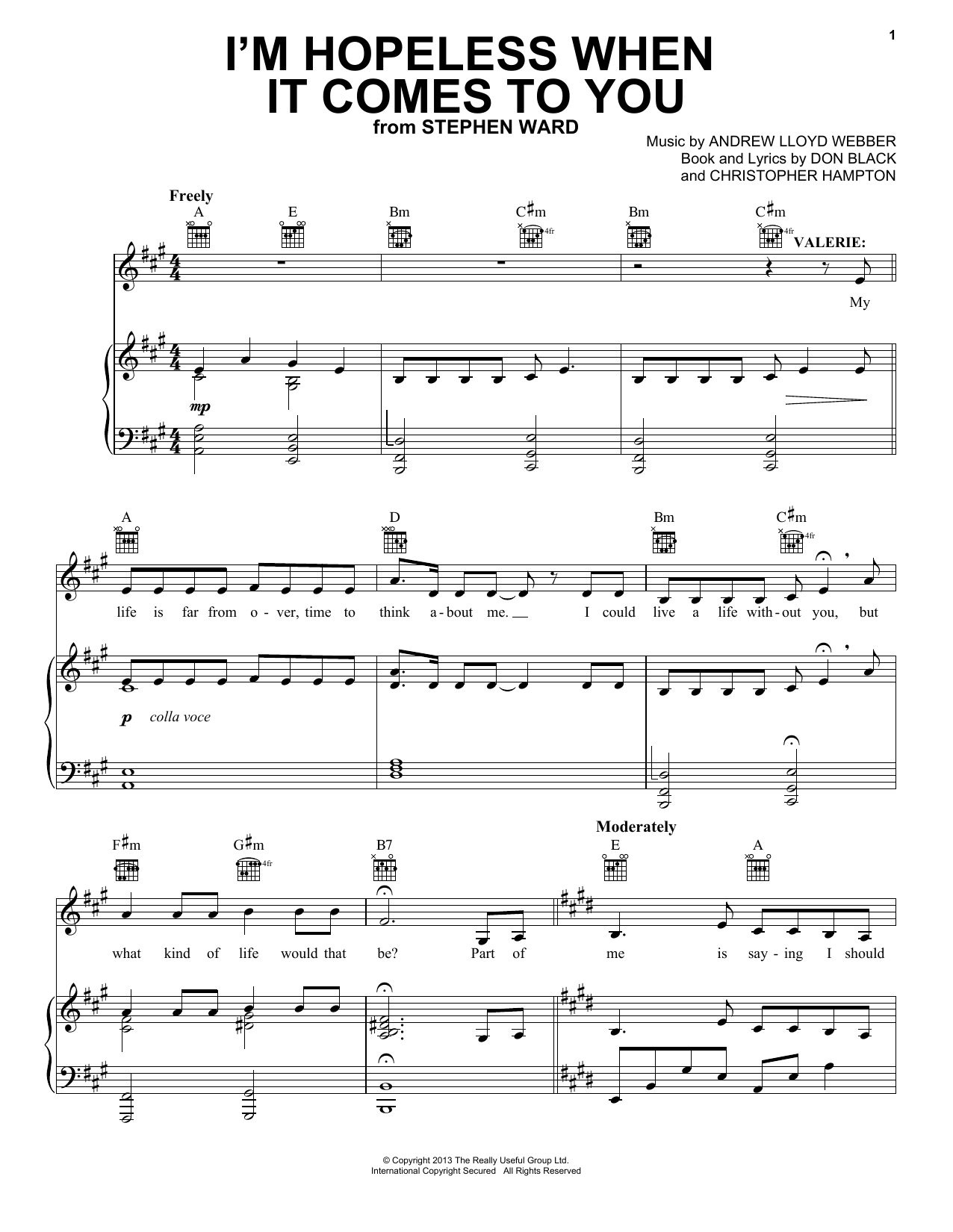 I'm Hopeless When It Comes To You (Piano, Vocal & Guitar (Right-Hand Melody))