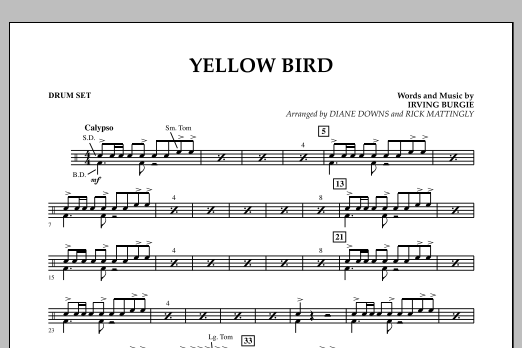 Yellow Bird - Drum Set (Concert Band)