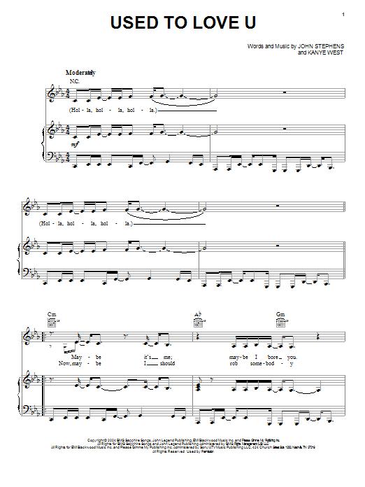 Partition piano Used To Love U de John Legend - Piano Voix Guitare (Mélodie Main Droite)