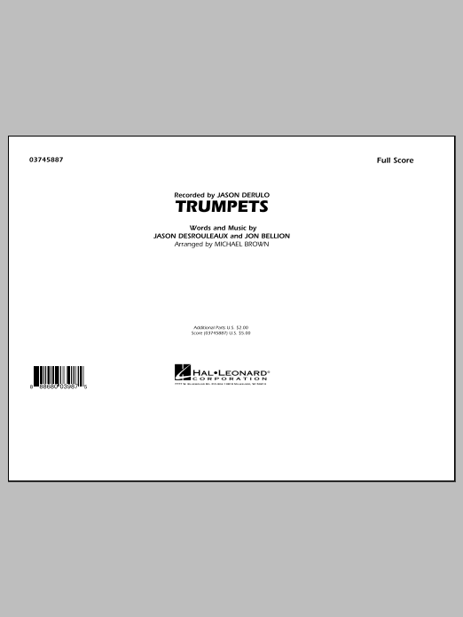 Trumpets (COMPLETE) sheet music for marching band by Michael Brown, Jason Derulo and Jon Bellion. Score Image Preview.