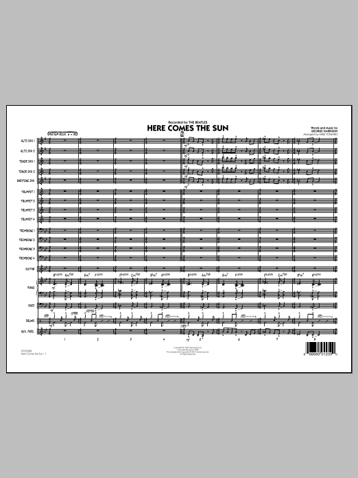 Here Comes the Sun (COMPLETE) sheet music for jazz band by Mike Tomaro, George Harrison and The Beatles. Score Image Preview.