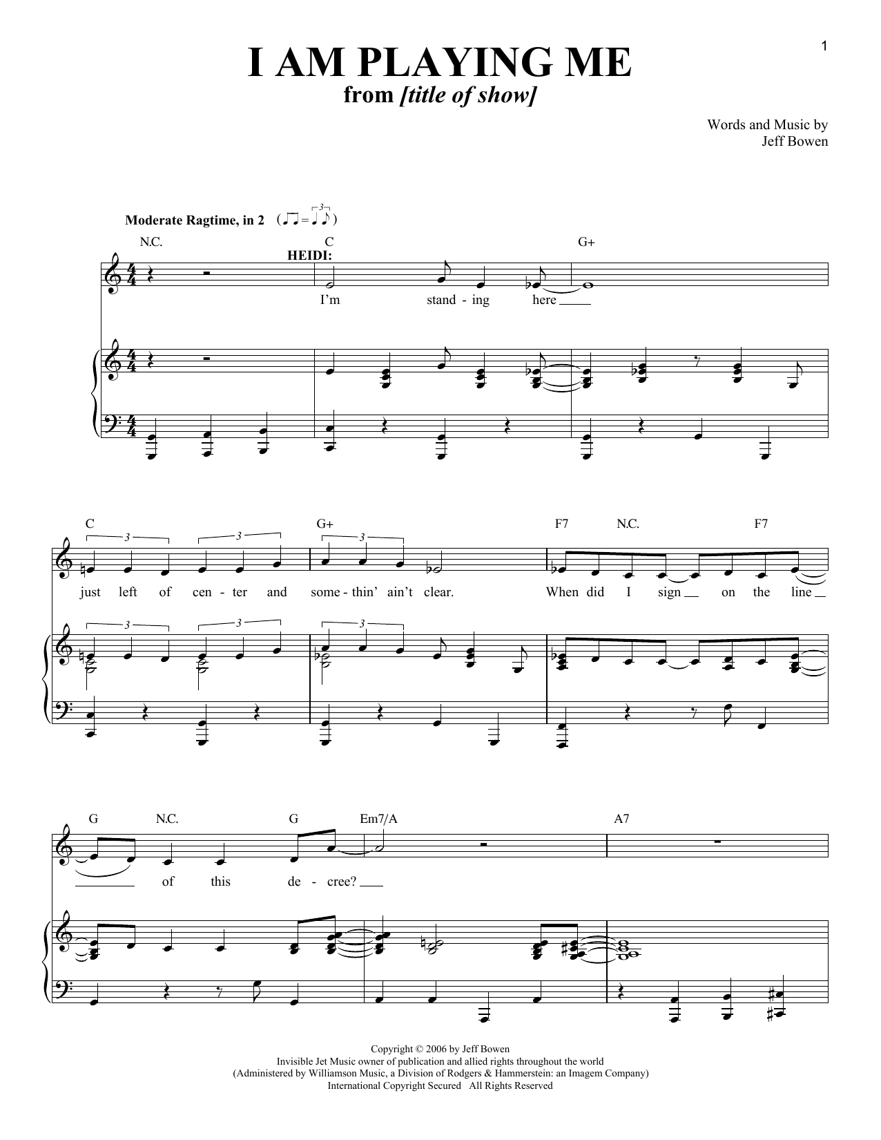 I Am Playing Me Sheet Music