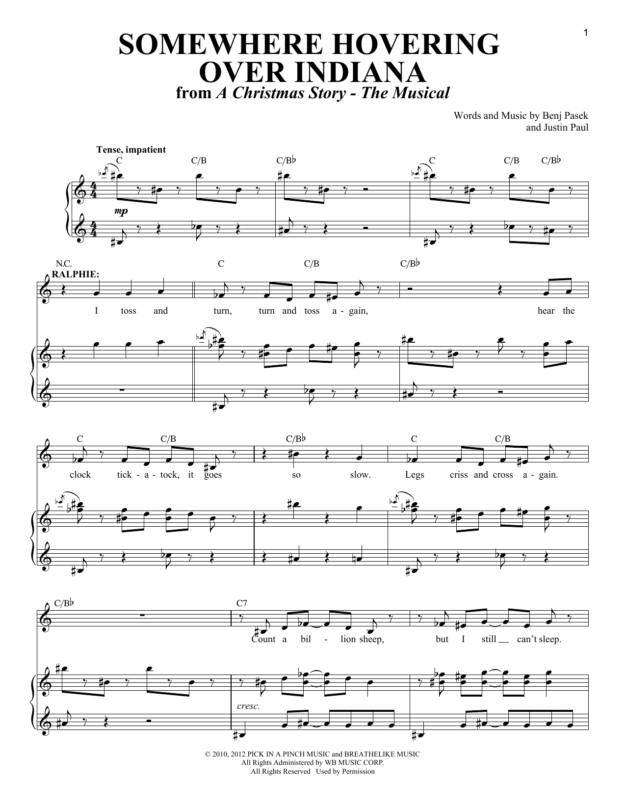 Somewhere Hovering Over Indiana Sheet Music