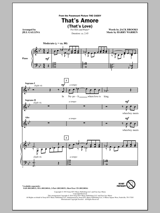 That's Amore (That's Love) (arr. Jill Gallina) Sheet Music