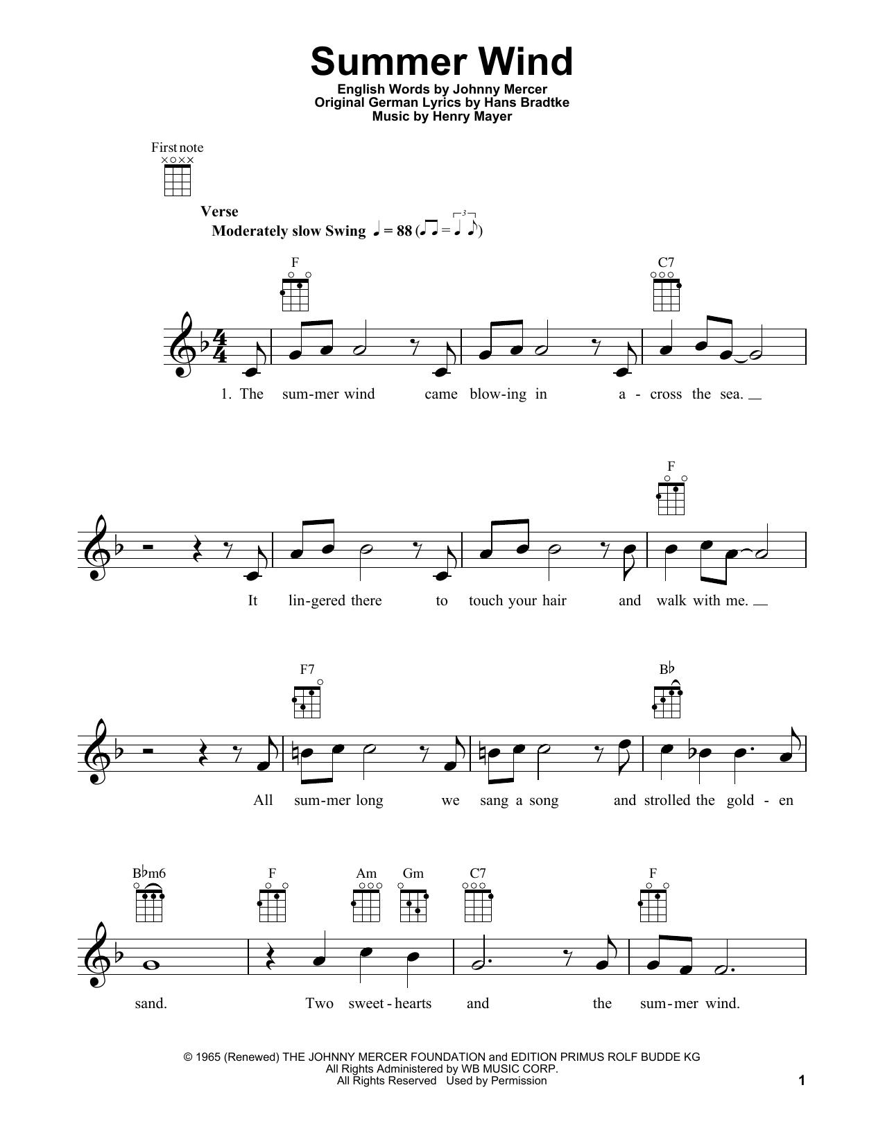 Tablature guitare Summer Wind de Frank Sinatra - Ukulele