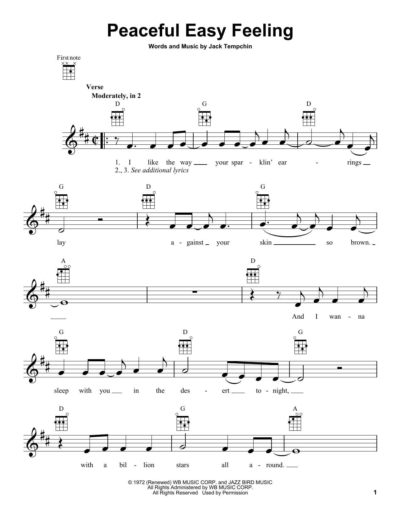 Tablature guitare Peaceful Easy Feeling de Eagles - Ukulele