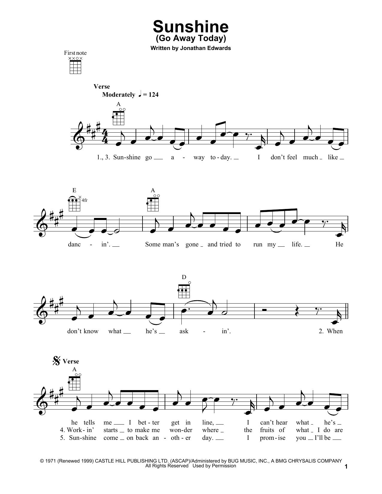 Sunshine (Go Away Today) Sheet Music