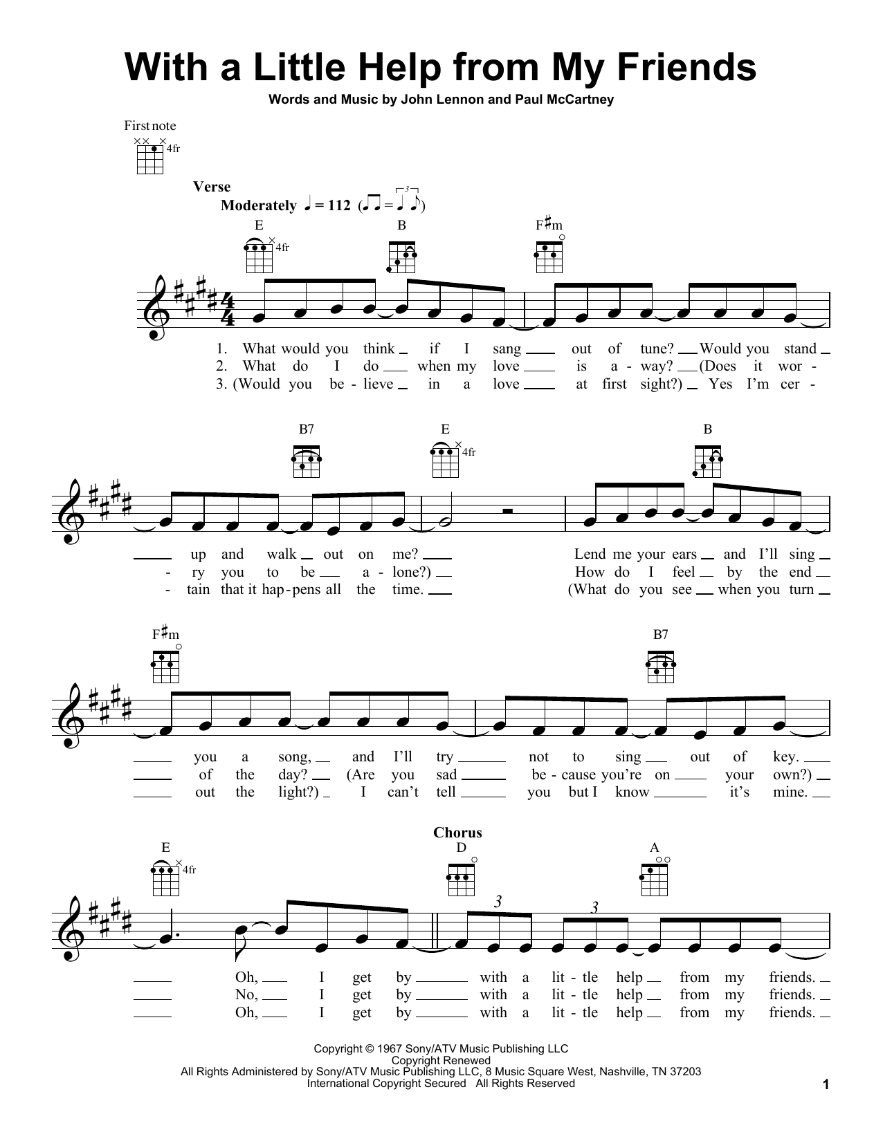 Tablature guitare With A Little Help From My Friends de The Beatles - Ukulele