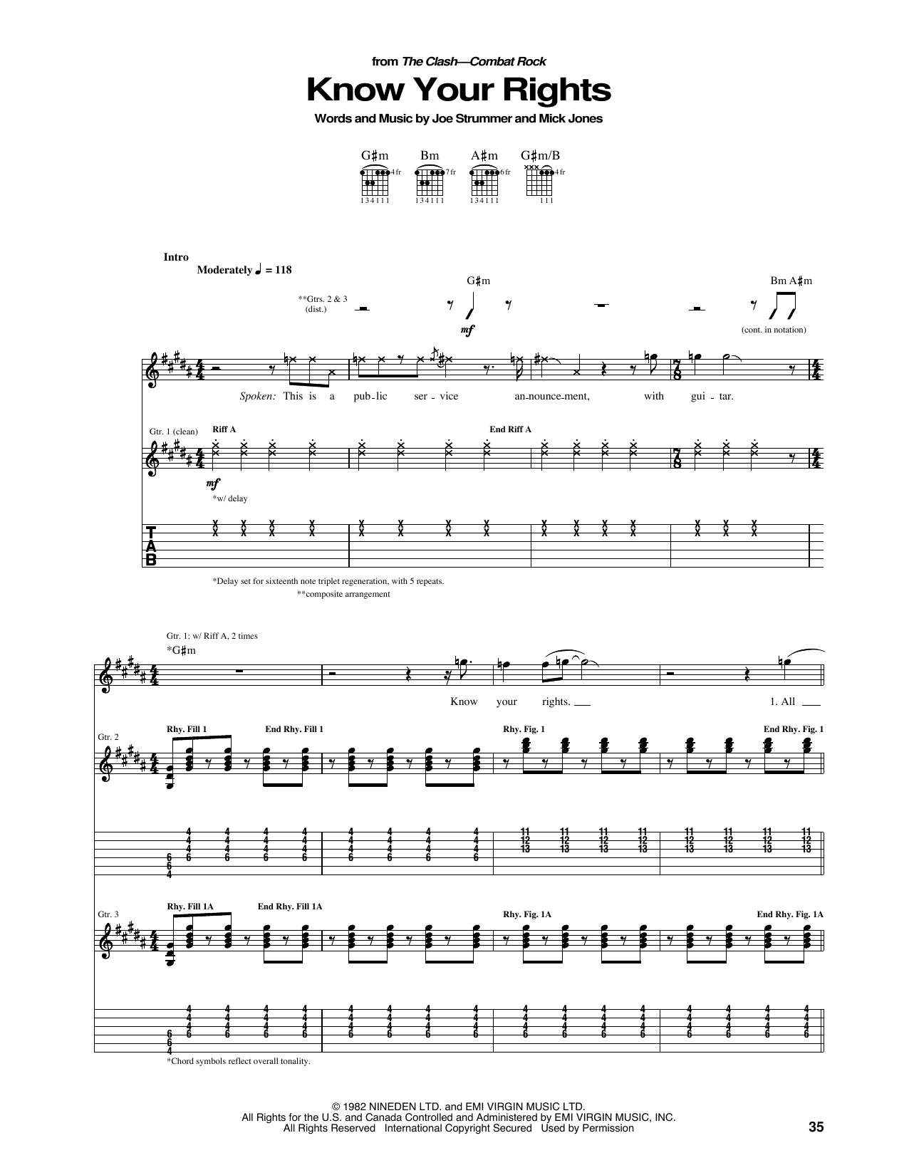 Know Your Rights (Guitar Tab)