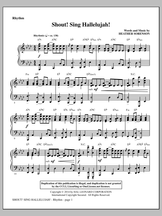 Shout! Sing Hallelujah! (complete set of parts) sheet music for orchestra/band by Heather Sorenson. Score Image Preview.