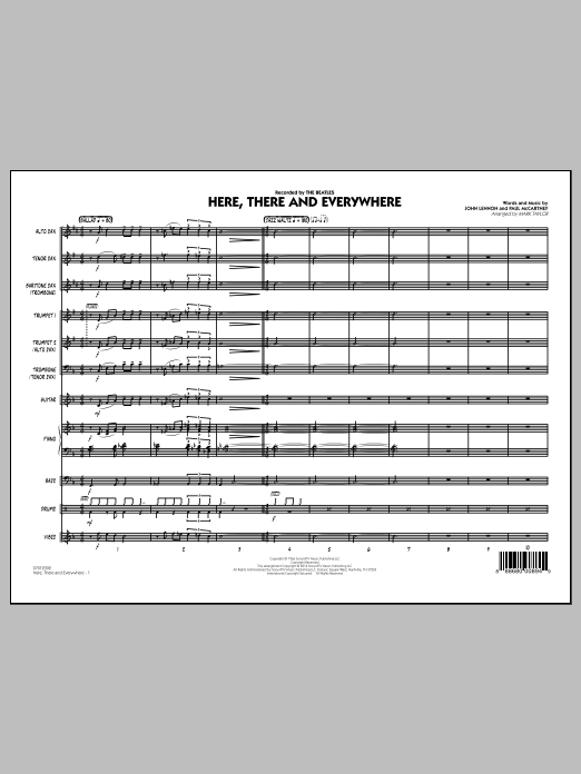 Here, There and Everywhere (COMPLETE) sheet music for jazz band by Mark Taylor, John Lennon, Paul McCartney and The Beatles. Score Image Preview.