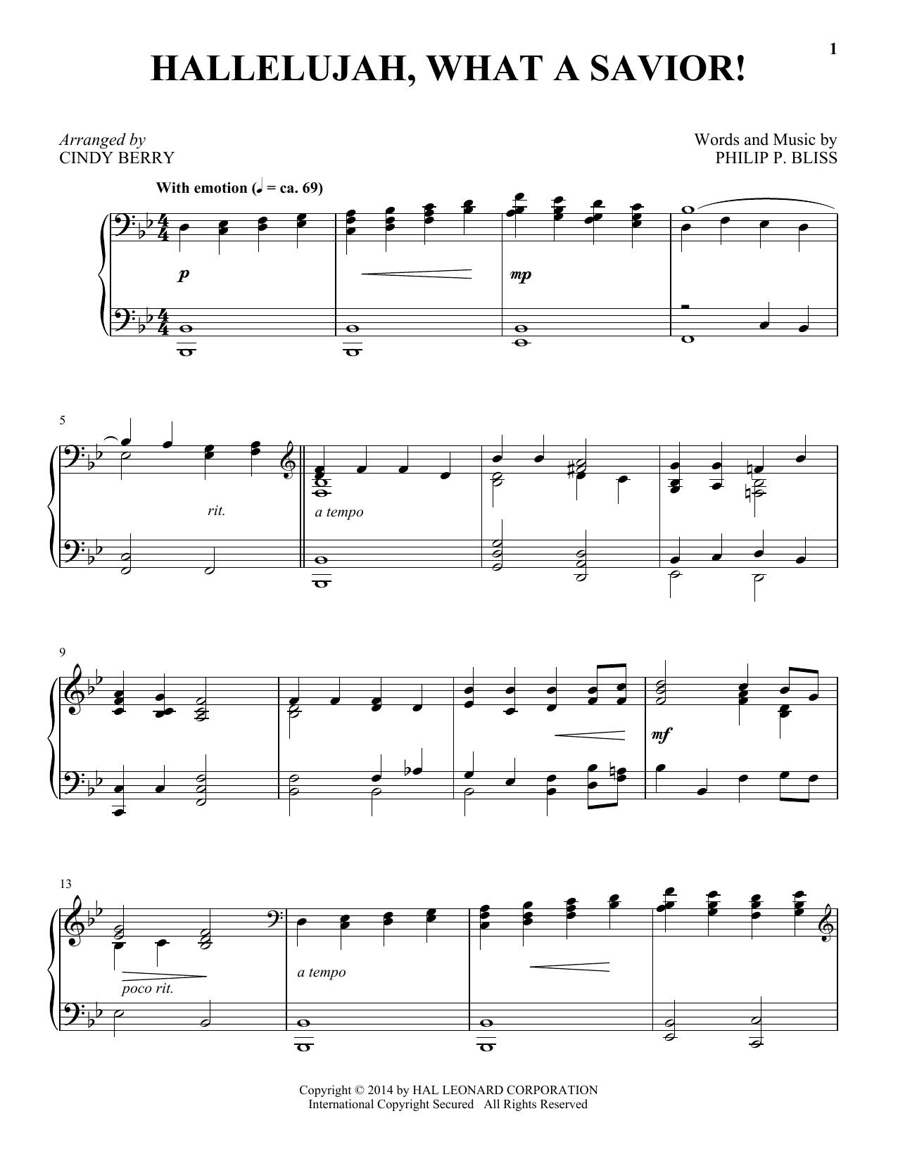Partition piano Hallelujah, What A Savior! de Cindy Berry - Piano Solo
