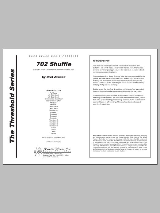 702 Shuffle (COMPLETE) sheet music for jazz band by Bret Zvacek. Score Image Preview.